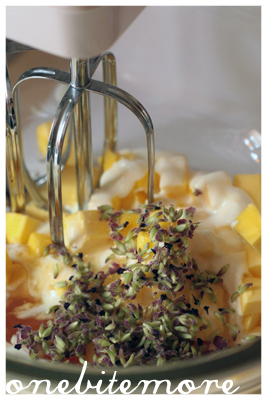 beating the lavender buds into the butter