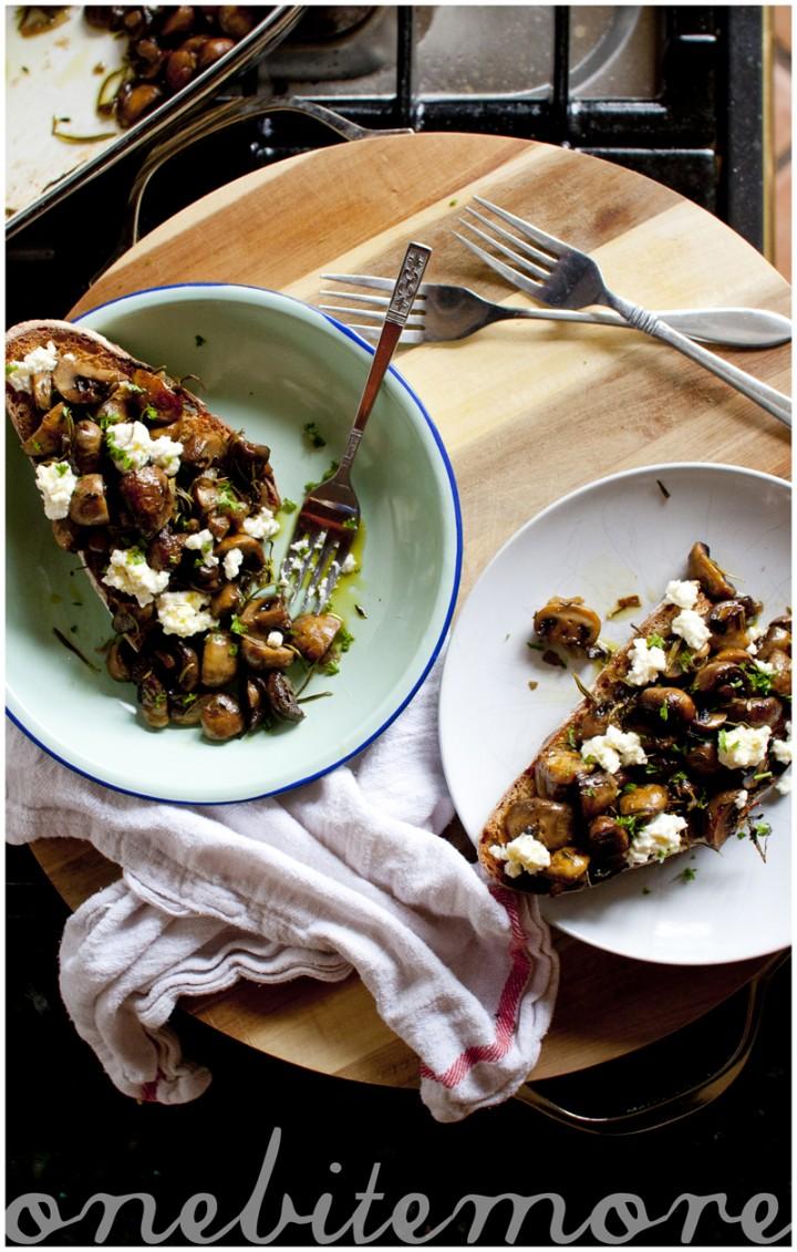 oven roasted mushrooms & ricotta on toast