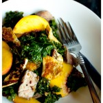 kale, lamb and peach salad