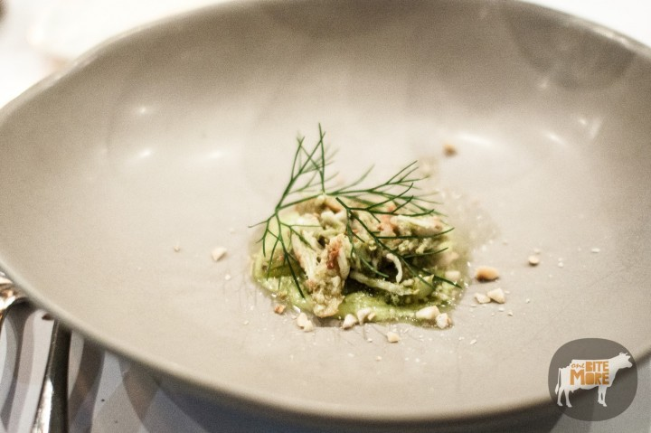 fennel custard  with crab and hazelnuts